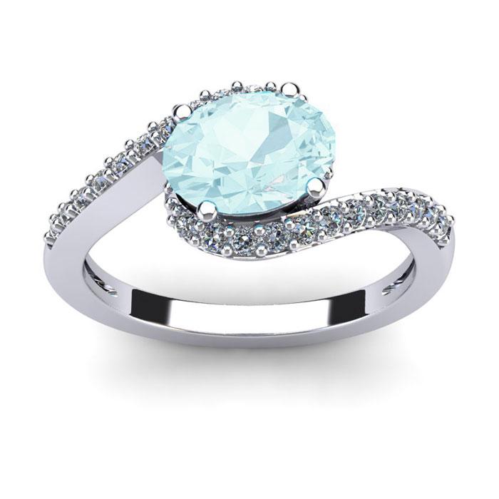 1 1/2 Carat Oval Shape Aquamarine and Halo Diamond Ring In 14 Karat White Gold
