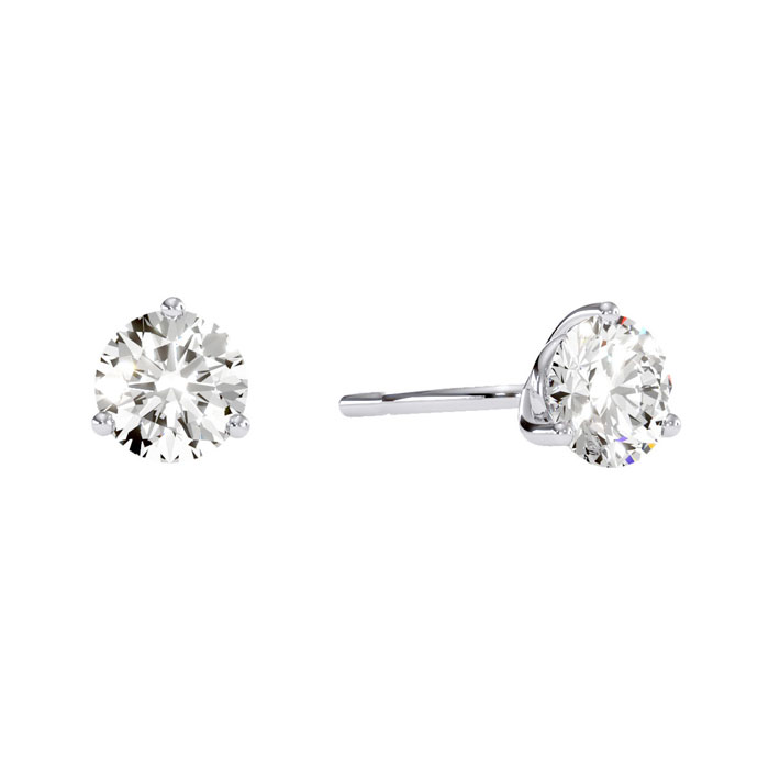 1 Carat Diamond Martini Stud Earrings In 14 Karat White Gold