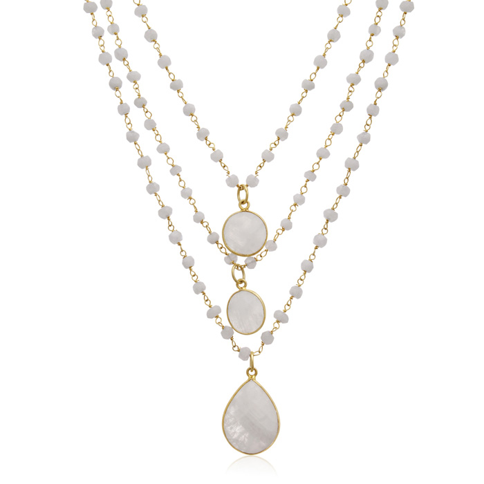 138 Carat Moonstone Triple Strand Beaded Necklace In 14K Yellow Gold, 26 Inches