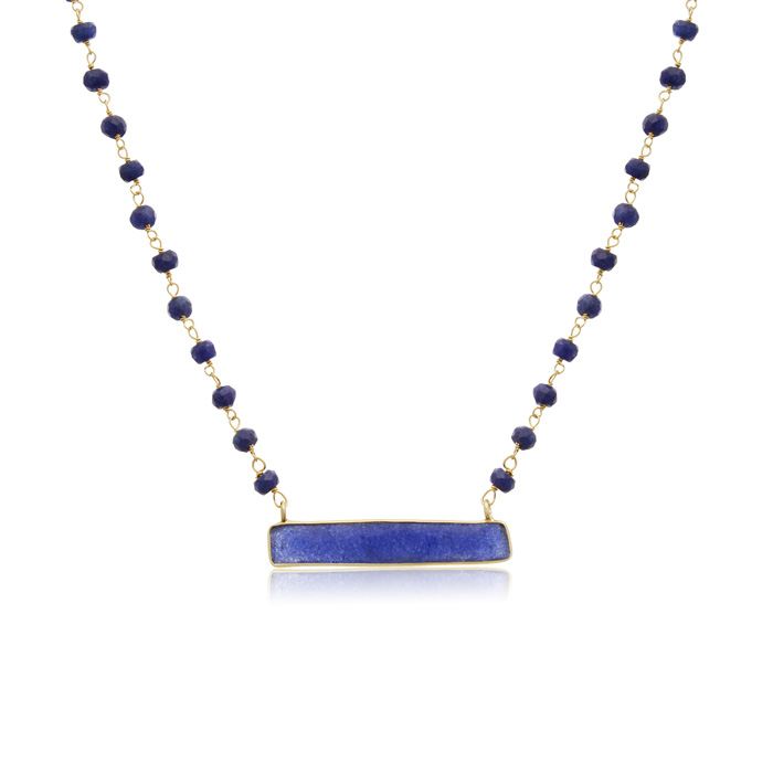 36 Carat Blue Sapphire Bar Necklace In 14 Karat Yellow Gold, 18 Inches