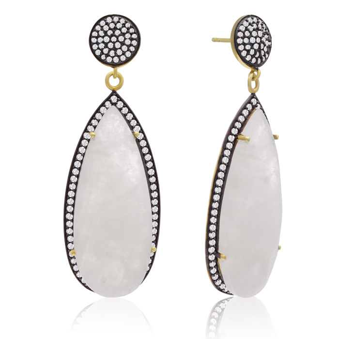 32 Carat Pear Shape Moonstone and Simulated Diamond Dangle Earrings In 14K Yellow Gold