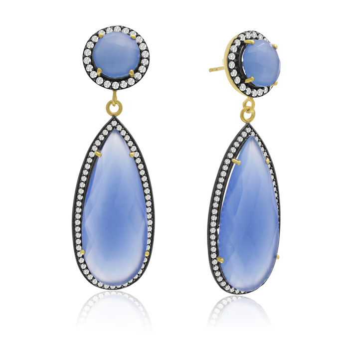 64 Carat Pear Shape Blue Chalcedony and Simulated Diamond Halo Dangle Earrings In 14K Yellow Gold