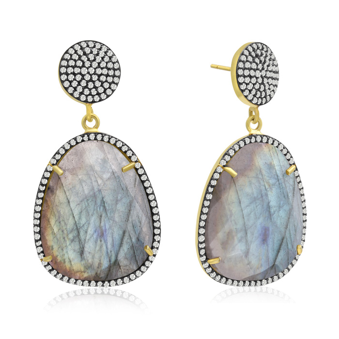 86 Carat Free Form Labradorite and Simulated Diamond Dangle Earrings In 14K Yellow Gold