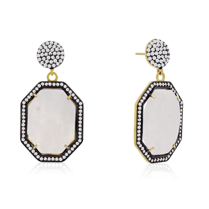 79 Carat Octagon Shape Moonstone and Simulated Diamond Dangle Earrings In 14K Yellow Gold