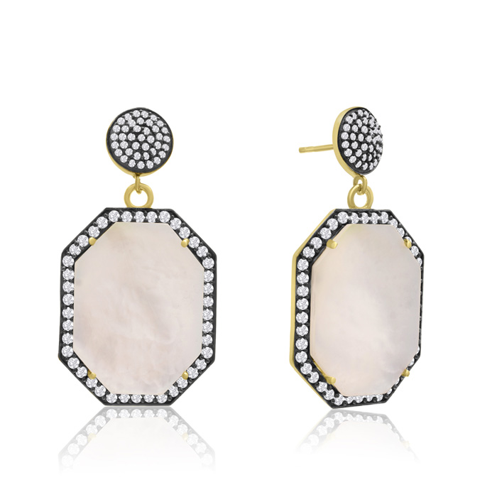 79 Carat Octagon Shape Mother of Pearl and Simulated Diamond Dangle Earrings In 14K Yellow Gold