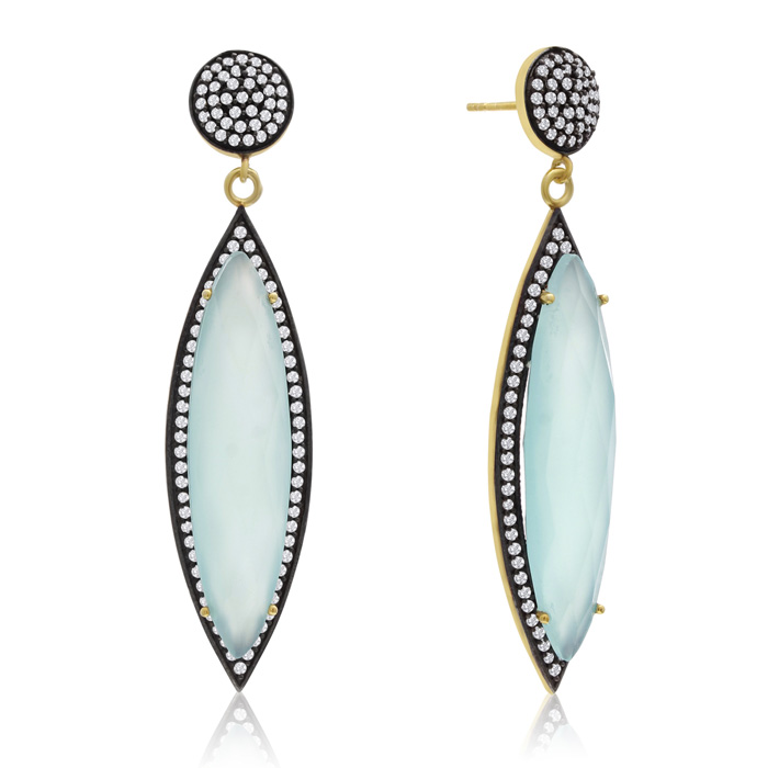 56 Carat Marquise Shape Green Chalcedony and Simulated Diamond Dangle Earrings In 14K Yellow Gold