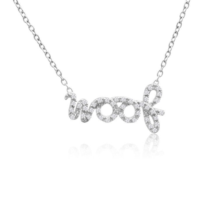 ASPCA® Tender Voices® Sterling Silver Woof Necklace 1/5cttw