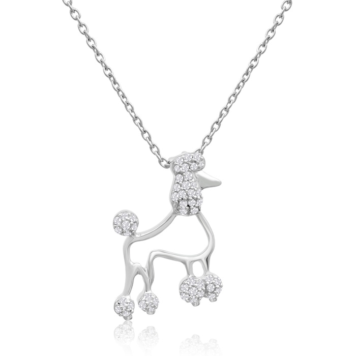 ASPCA® Tender Voices® Sterling Silver Diamond Poodle Dog Necklace 1/5cttw