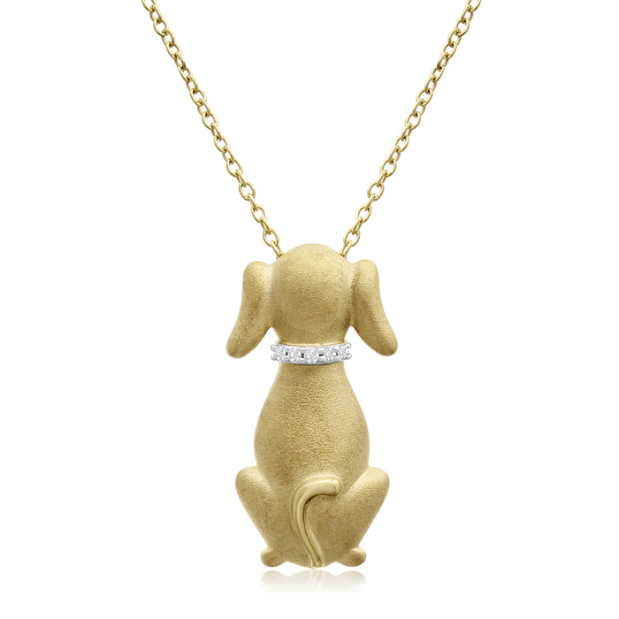 ASPCA® Tender Voices® 10K Yellow Gold Over Sterling Silver Diamond Accent Dog Necklace
