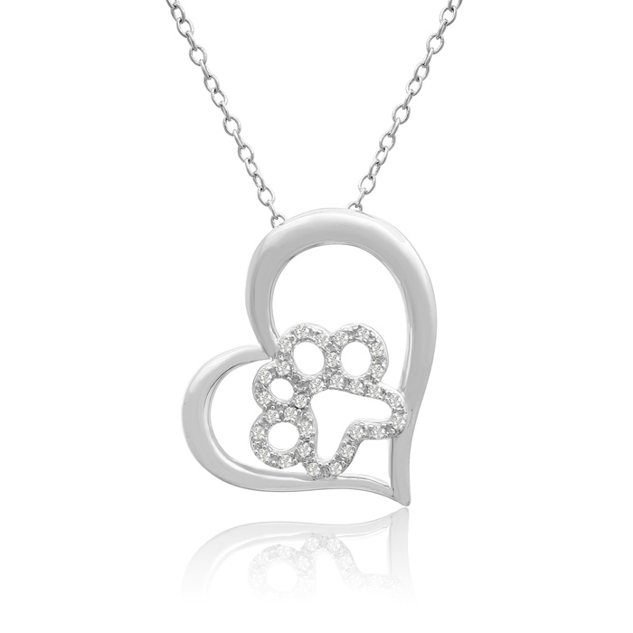 ASPCA® Tender Voices® Sterling Silver Diamond Paw in Tilted Heart Necklace 1/6cttw