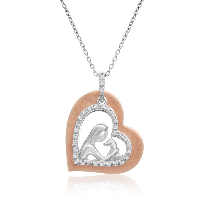 ASPCA® Tender Voices® 10k Rose Gold And Sterling Silver Diamond Animal Love Necklace 1/10cttw