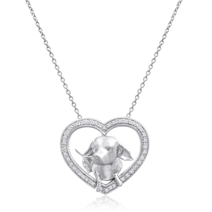 ASPCA® Tender Voices® Sterling Silver Diamond Heart Dog Necklace 1/10cttw