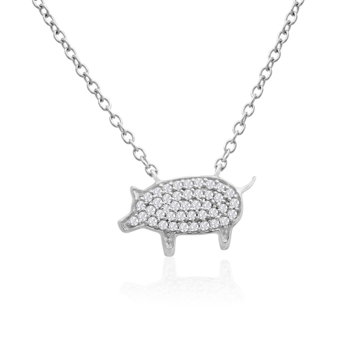 ASPCA® Tender Voices® Sterling Silver Diamond Pig Necklace 1/6cttw