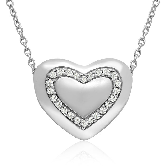 Sterling Silver 0.16 Carat Reversible Heart Necklace, 18 Inches