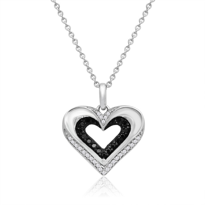 Sterling Silver 1/5 Carat Black and White Diamond Heart Necklace, 18 Inches