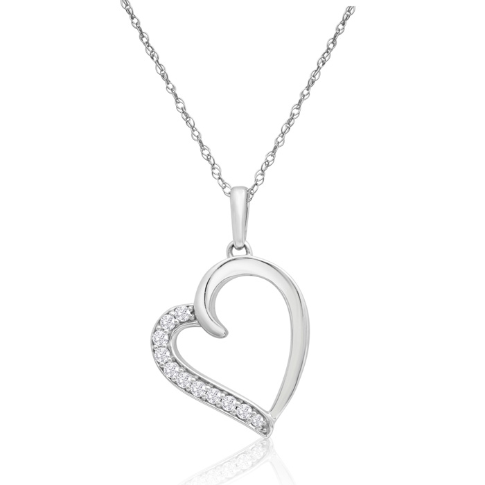 Sterling Silver 0.16 Carat Diamond Heart Necklace, 18 Inches