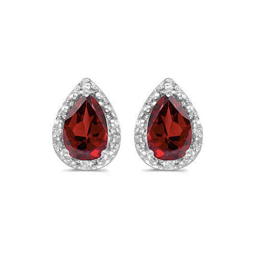 10k White Gold Pear Garnet And Diamond Earrings