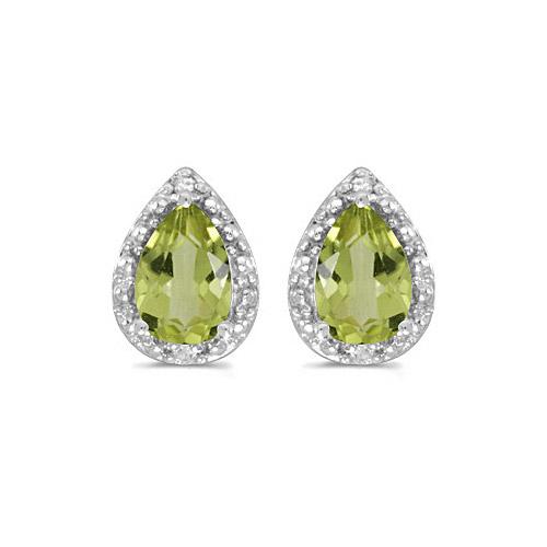 10k White Gold Pear Peridot And Diamond Earrings