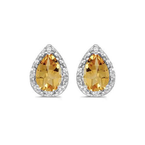 10k White Gold Pear Citrine And Diamond Earrings