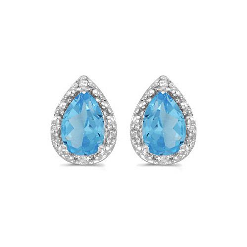 10k White Gold Pear Blue Topaz And Diamond Earrings
