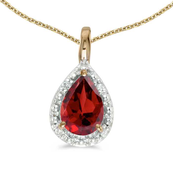14k Yellow Gold Pear Garnet Pendant with 18