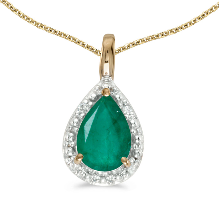 14k Yellow Gold Pear Emerald Pendant with 18