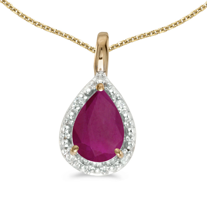 14k Yellow Gold Pear Ruby Pendant with 18