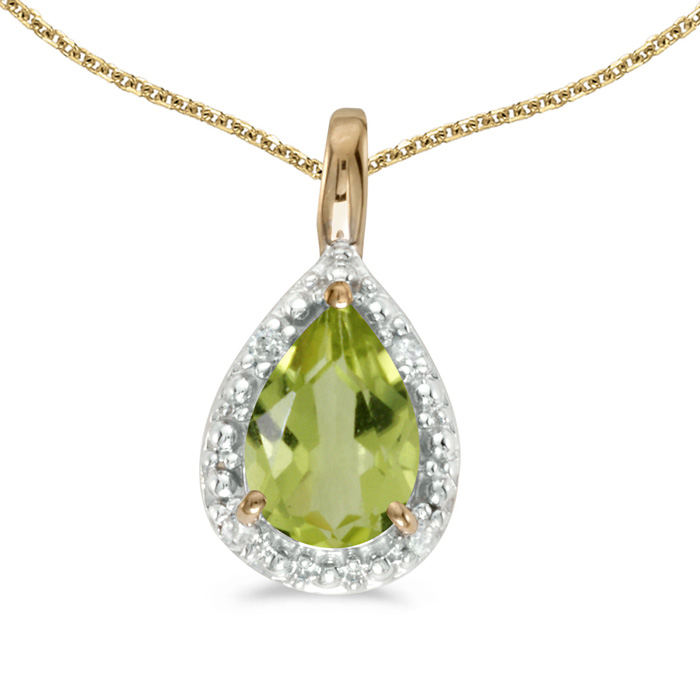 14k Yellow Gold Pear Peridot Pendant with 18