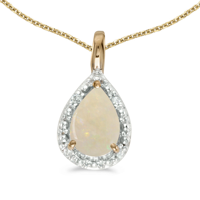 14k Yellow Gold Pear Opal Pendant with 18