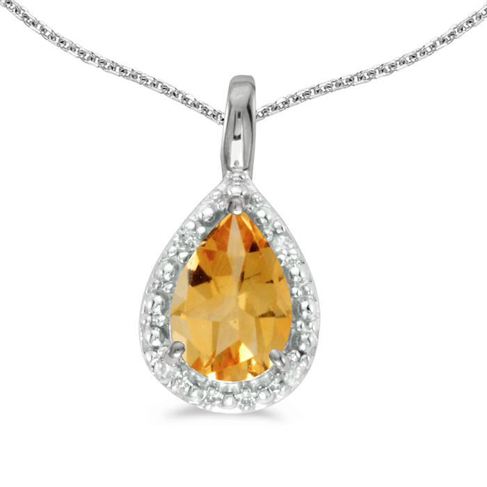 14k White Gold Pear Citrine Pendant with 18