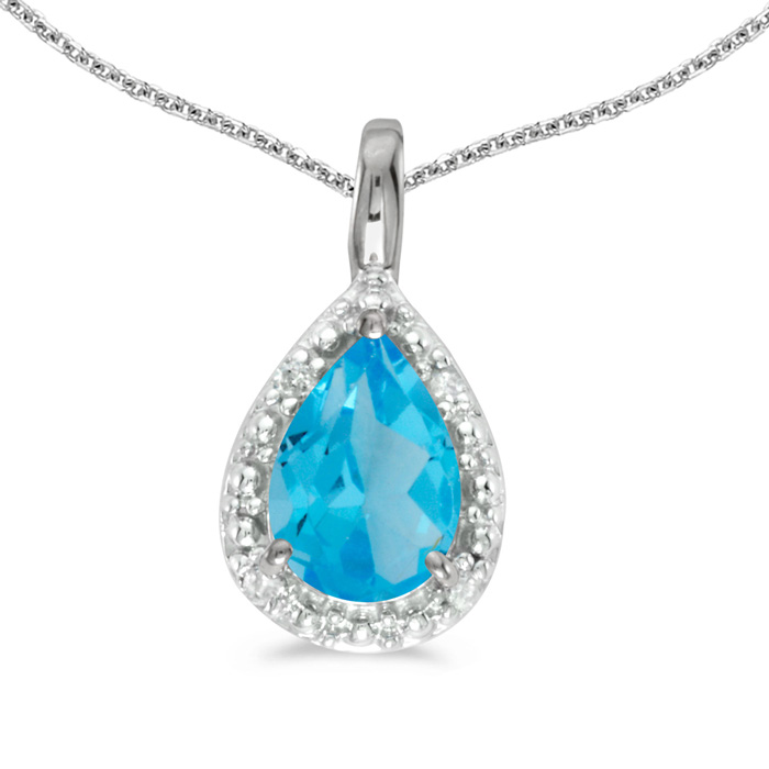 14k White Gold Pear Blue Topaz Pendant with 18