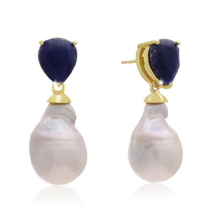 64 Carat Pear Shape Blue Sapphire and Baroque Pearl Dangle Earrings In 14K Yellow Gold
