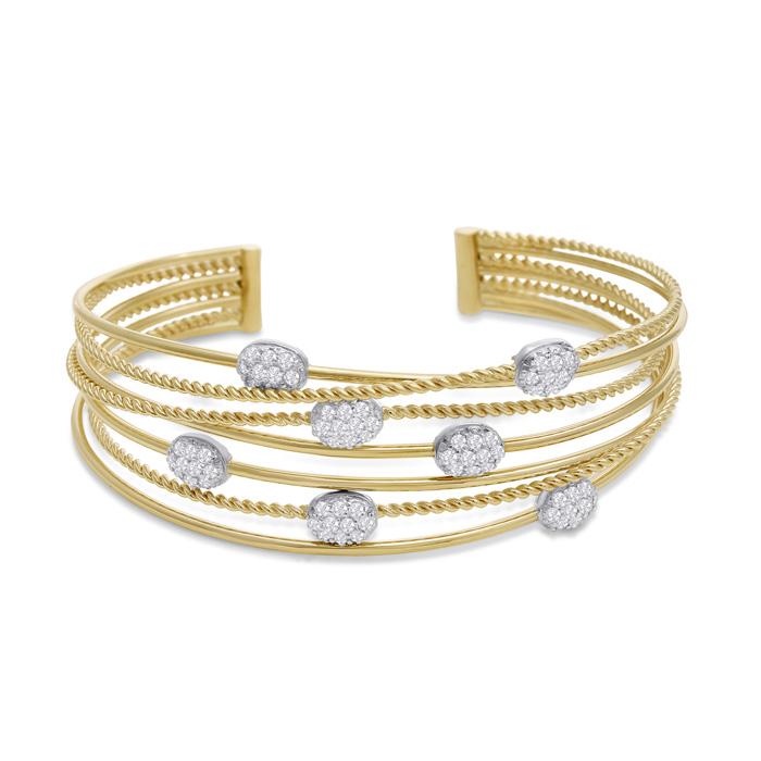 14 Karat Yellow Gold 1 1/2 Carat Pave Diamond Cuff Bangle Bracelet