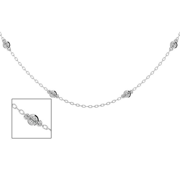 14 Karat White Gold 1/2 Carat Diamonds By The Yard Necklace