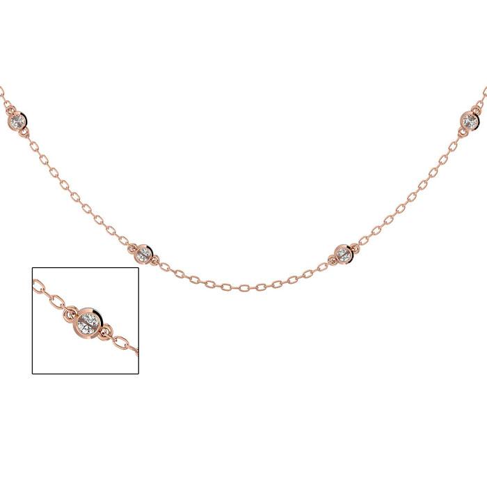 14 Karat Rose Gold 1/2 Carat Diamonds By The Yard Necklace