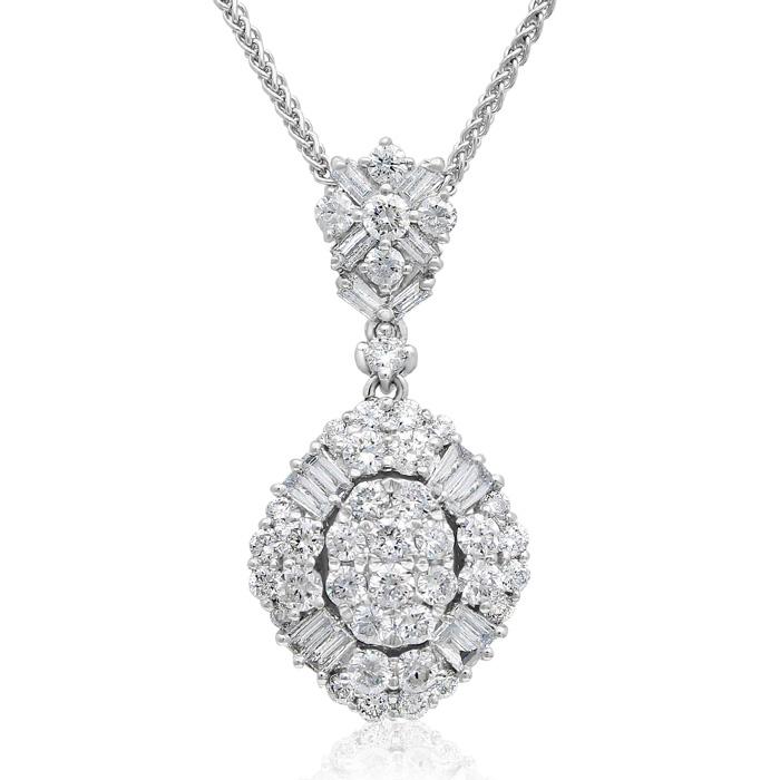 18 Karat White Gold 1 1/2 Carat Baguette and Round Diamond Pendant Necklace