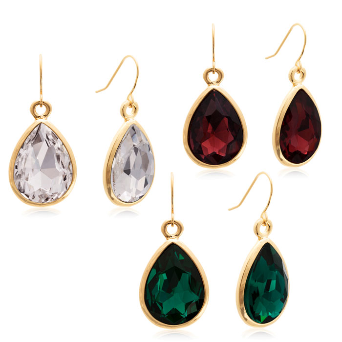 Set Of Three 18 Carat Pear Shape Crystal Earrings In Clear, Emerald and Marsala