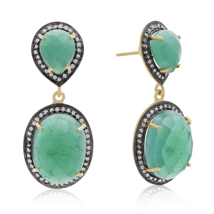 28 Carat Emerald and Simulated Diamond Drop Earrings In 14K Yellow Gold