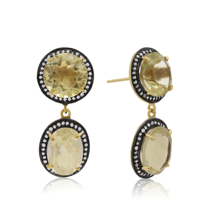 28 Carat Lemon Topaz and Simulated Diamond Drop Earrings In 14K Yellow Gold