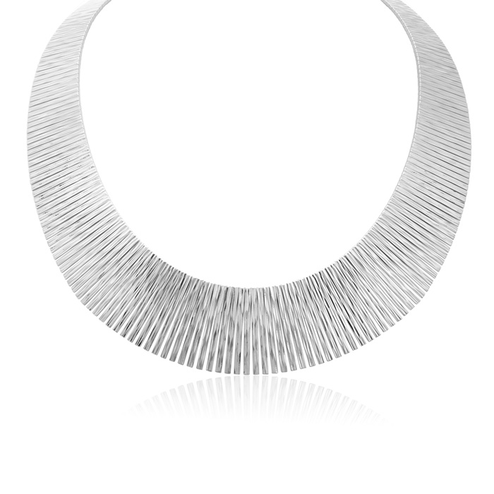 Italian Sterling Silver Cleopatra Tapered Bib Necklace, 17 Inches
