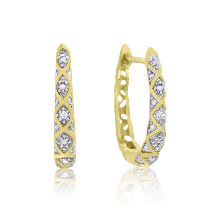 Delicately Embellished Diamond Hoop Earrings, Gold Overlay, 3/4 Inch