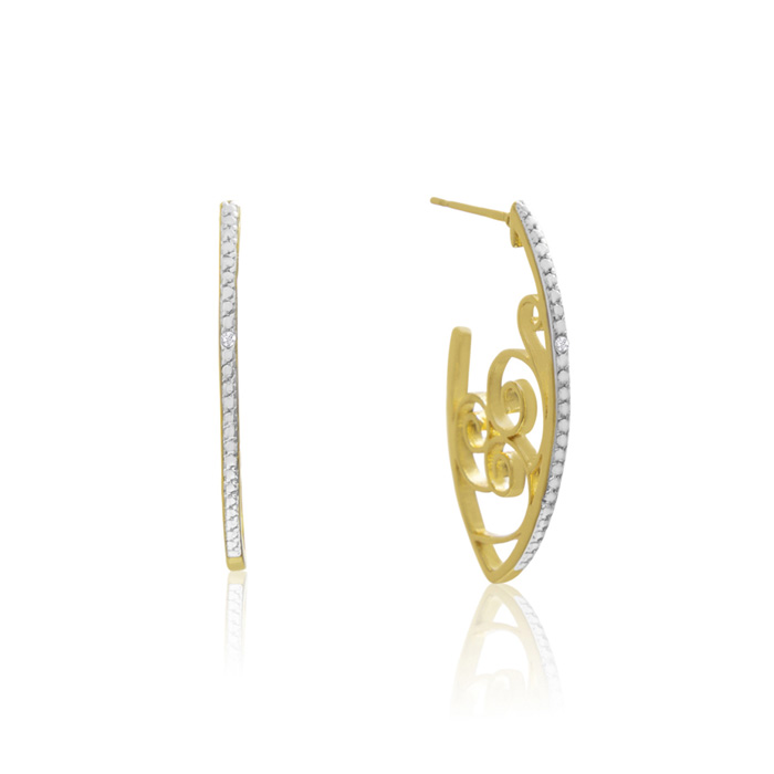 Delicate Diamond Swirl Hoop Earrings, Gold Overlay, 1 Inch