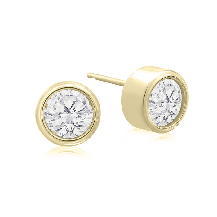 1 Carat Bezel Set Diamond Stud Earrings Crafted In 14 Karat Yellow Gold