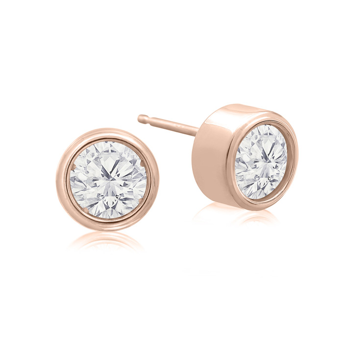 1 Carat Bezel Set Diamond Stud Earrings Crafted In 14 Karat Rose Gold