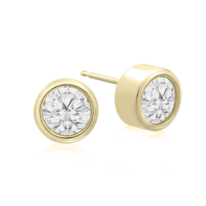 1 1/3 Carat Bezel Set Diamond Stud Earrings Crafted In 14 Karat Yellow Gold