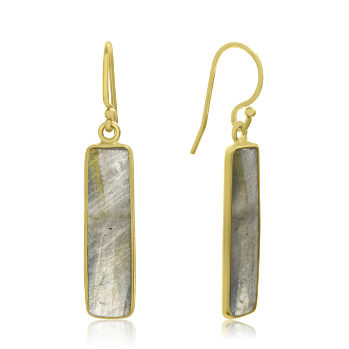 10 Carat Pyrite Bar Earrings In 14kt Yellow Gold Overlay 1 Inch