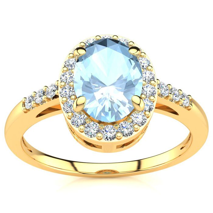 1 Carat Oval Shape Aquamarine and Halo Diamond Ring In 14K Yellow Gold