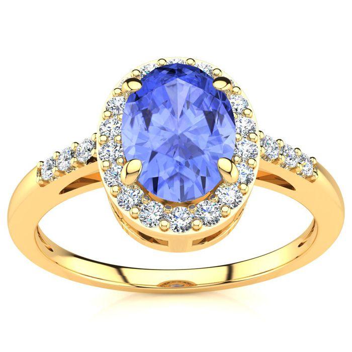 1 Carat Oval Shape Tanzanite and Halo Diamond Ring In 14K Yellow Gold
