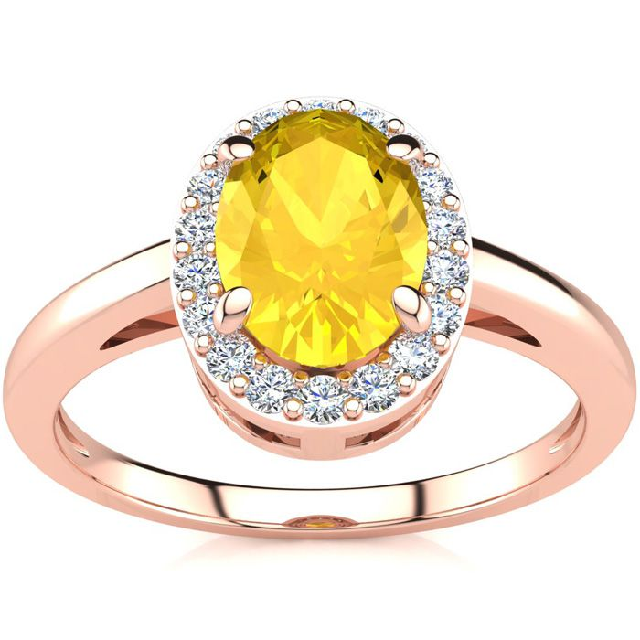 1/2 Carat Oval Shape Citrine and Halo Diamond Ring In 14K Rose Gold