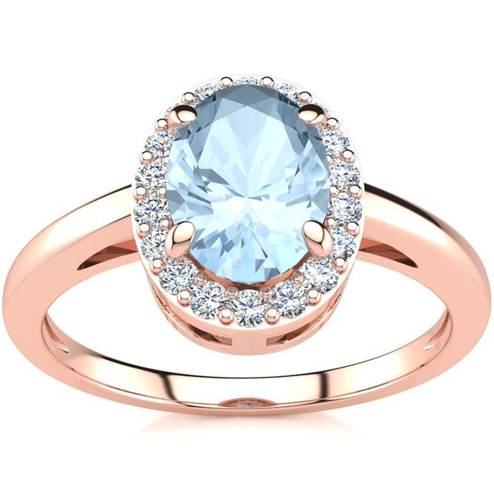 1 Carat Oval Shape Aquamarine and Halo Diamond Ring In 14K Rose Gold